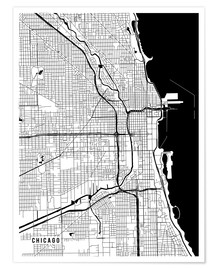 Poster  Chicago USA Map - Main Street Maps
