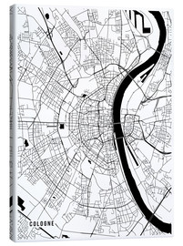 Tableau sur toile  Cologne Germany Map - Main Street Maps
