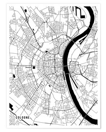 Poster  Cologne Germany Map - Main Street Maps