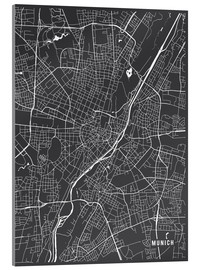 Verre acrylique  Munich Germany Map - Main Street Maps