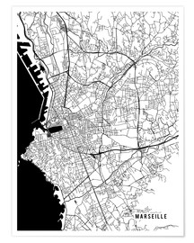 Poster Marseille France Map