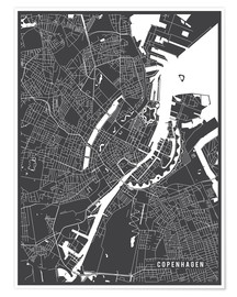 Poster  Copenhagen Netherlands Map - Main Street Maps