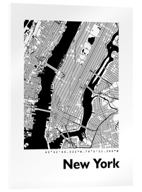 Tableau en verre acrylique  Plan de la ville de New York - 44spaces
