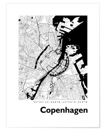 Poster  Plan de la ville de Copenhague - 44spaces
