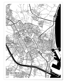 Poster  Valencia Spain Map - Main Street Maps