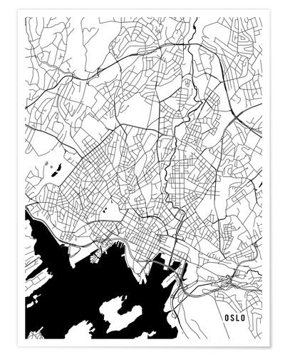 Poster Oslo Norway Map