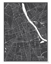 Poster  Warsaw Poland Map - Main Street Maps