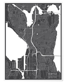 Poster  Seattle USA Map - Main Street Maps