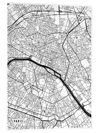 Verre acrylique  Paris France Map - Main Street Maps