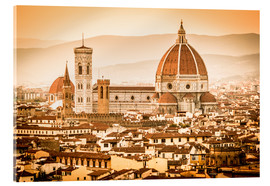 Verre acrylique  Cityscape with Cathedral and Brunelleschi Dome, Florence - Cubo Images
