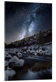 Tableau en verre acrylique  Italy, Piedmont, Cuneo District, Gesso Valley, Alpi Marittime Natural Park, winter starry night on t - age fotostock