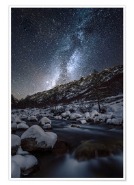 Poster Italy, Piedmont, Cuneo District, Gesso Valley, Alpi Marittime Natural Park, winter starry night on t