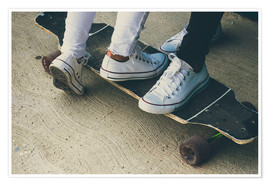 Poster Feet of two teenagers on skateboard