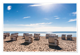 Poster Germany, Schleswig-Holstein, Bay of Luebeck, hooded beach chairs on the beach