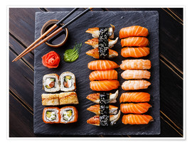 Poster  Sushi Set on black stone slate background - TPP