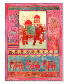 Poster Elephants, architecture and floral pattern