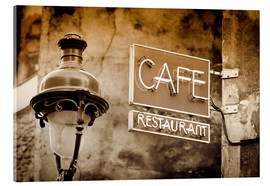 Verre acrylique  Cafe sign and lamp post, Paris, France. - age fotostock