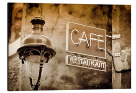 Tableau en aluminium  Cafe sign and lamp post, Paris, France. - age fotostock