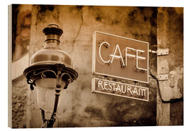 Tableau en bois  Cafe sign and lamp post, Paris, France. - age fotostock