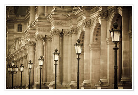 Poster  Lamp posts and columns at the Louvre Palace, Louvre Museum, Paris, France. - age fotostock