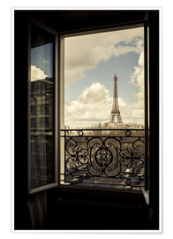 Poster  The Eiffel Tower, Paris, France, viewed through an open window. - age fotostock
