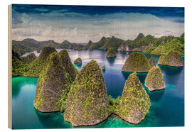 Tableau en bois  Îles Raja Ampat, Wayag Islands en Indonésie - Jones & Shimlock