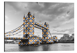 Tableau en aluminium  Tower Bridge en couleurs pop