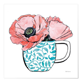Poster  Floral Teacups II - Beth Grove