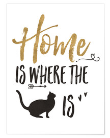 Poster  Home is where the cat is (anglais) - Veronique Charron