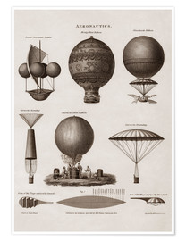Poster  Illustration of early hot air balloon designs - John Parrot