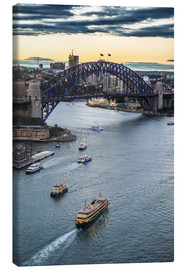 Toile  View over Sydney harbour after sunset, Sydney, New South Wales, Australia, Pacific - Michael Runkel