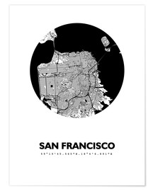 Poster  Plan de la ville de San Francisco - 44spaces