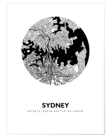 Poster  Plan de la ville de Sydney - 44spaces