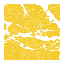 Poster  Carte jaune de la ville de Stockholm - 44spaces