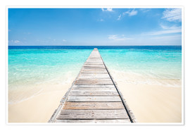 Poster  Jetty on a lonely island in the Maldives - Jan Christopher Becke