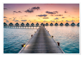 Poster  Romantic sunset in the Maldives - Jan Christopher Becke