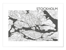 Poster  Plan de la ville de Stockholm - 44spaces