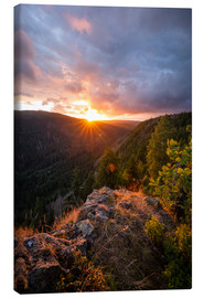 Toile  Dramatic sunset on a cliff in the Harz - Oliver Henze