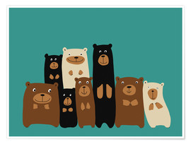 Poster Les amis ours sur fond turquoise