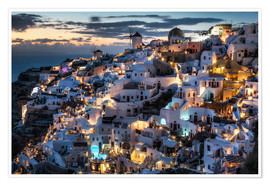 Poster  Santorini view after sunset - Dennis Fischer