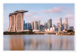 Poster  Singapore skyline at sunrise - Matteo Colombo