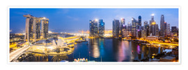 Poster  Singapore skyline panoramic - Matteo Colombo