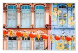 Poster  Colourful windows in Chinatown, Singapore - Matteo Colombo