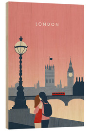 Tableau en bois  Illustration London - Katinka Reinke