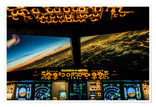 Poster Airbus A320 Landing in Moscow, Russia