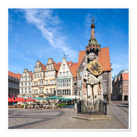 Poster  Historic Market Square in Bremen with Roland Statue - Jan Christopher Becke