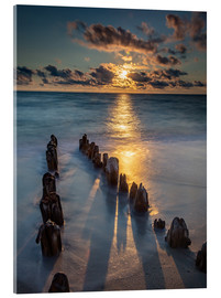Verre acrylique  Groyne on Sylt with sunset - Heiko Mundel
