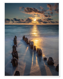 Poster  Groyne on Sylt with sunset - Heiko Mundel