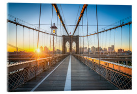 Verre acrylique  Brooklyn Bridge at sunrise in front of the Brooklyn skyline - Jan Christopher Becke