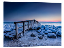 Verre acrylique  Jetty on the icy Baltic Sea near Travemünde - Heiko Mundel